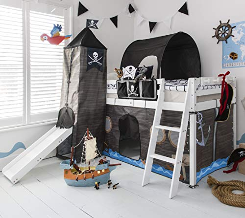 Noa and Nani - Midsleeper Cabin Bed with Slide and Pirate Hideaway Tent, Tower and Tunnel - (White)