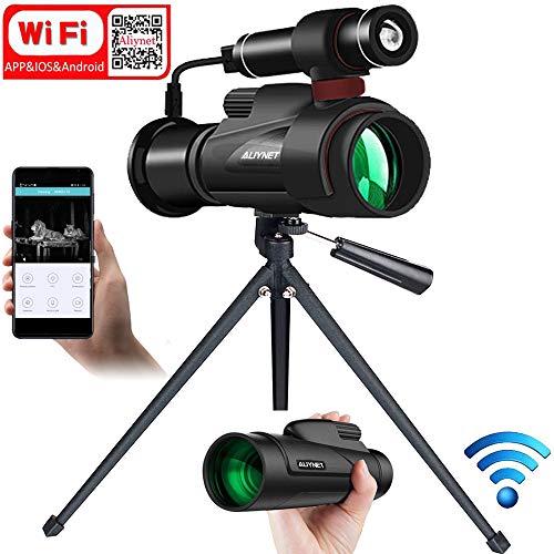 Digitales Infrarot Nachtsichtgerät Monokulare,Nachtsicht-Monokular mit WiFi und APP-Funktion,Nachtsichtbrille mit externer leistungsstarker Infrarotlampe zur Nachtbeobachtung,Wildbeobachtung