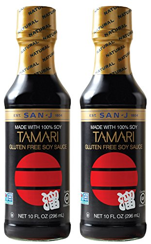 San-J Tamari Gluten Free Soy Sauce, Black Bottle, 10 Ounce (Pack of 2)