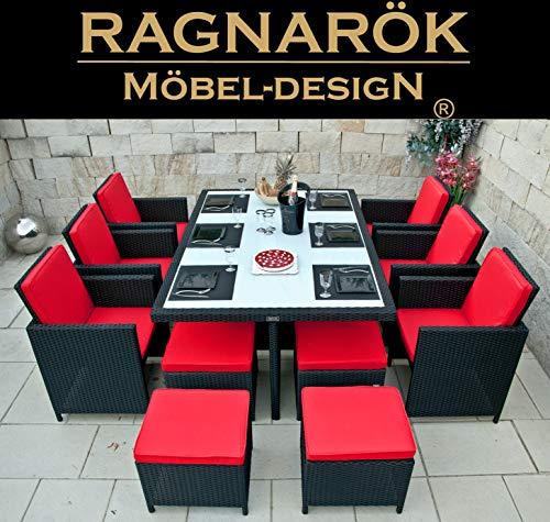 Ragnarök-Möbeldesign RAGNARÖK PolyRattan - DEUTSCHE Marke - EIGENE Produktion - 8 Jahre GARANTIE auf UV-Beständigkeit Gartenmöbel schwarz Essgruppe Tisch 6 Stuhl Hocker Polster Rostfrei Aluminium