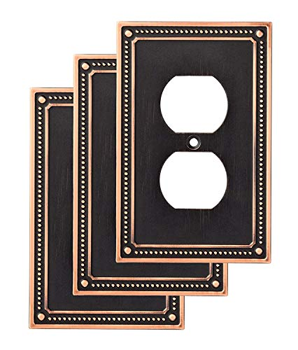Franklin Brass W35059V-VBC-C Classic Beaded Single Duplex Wall Switch Plate/Cover, 3-Pack, Bronze with Copper Highlights, 3 Count