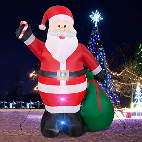 ZINE Giant Christmas Inflatables,12Foot Inflatable Santa Claus With Gift Bag With Led Light for Christmas Yard Decoration Indoor Outdoor