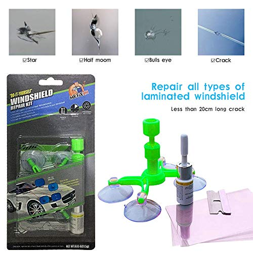 Chriffer Windshield Repair Resin, 2020 Upgraded DIY Auto Glass Window Crack Repair Kit Windshield Chip Repair Kit for Chips, Cracks, Bulls-Eye, Spider Web, Star-Shaped, Nicks, and Half-Moon