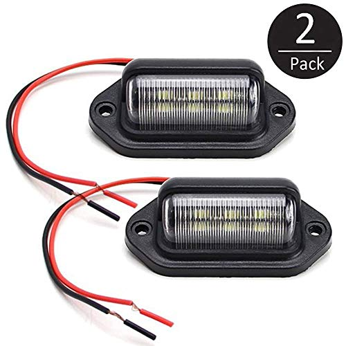 EEEKit Car Number Plate Lights, 12V 6 SMD LED License Plate Lamp Light for Truck SUV Trailer Van, Step Courtesy Lights, Dome/Cargo Lights or Under Hood Light [2 Pack]