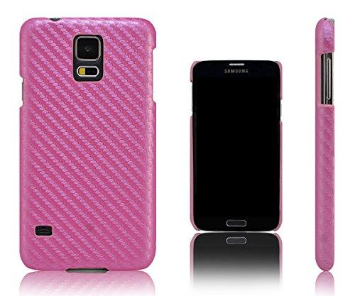 Xcessor Carbon Fiber hard plastic beschermhoes voor Samsung Galaxy S5 i9600 (compatibel met alle Samsung Galaxy S5-modellen). roze.