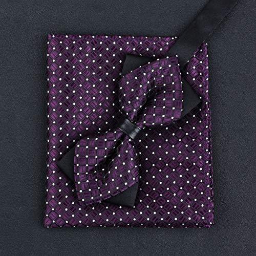URNOFHW 11 Colores de Las Modas de los Hombres Cuadrados de Bowtie y el Bolsillo del Hombre de la Pajarita del pañuelo Juego de la Boda del Vin Corbata (Color : D)