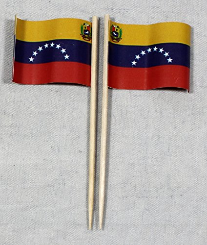 Buddel-Bini Party-Picker Flagge Venezuela Papierfähnchen in Profiqualität 50 Stück 8 cm Offsetdruck Riesenauswahl aus eigener Herstellung