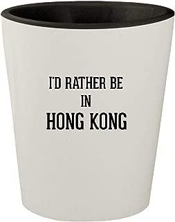 I'd Rather Be In HONG KONG - White Outer & Black Inner Ceramic 1.5oz Shot Glass
