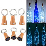 Muasdae 6 Pack Solar Wine Bottle Lights, White Light 10 LED Fairy String Lights White Solar Lights for Party, DIY, Decoration, Halloween, Wedding(White Light)