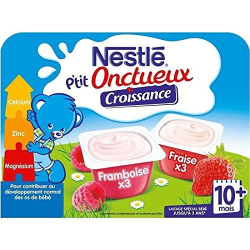 NESTLE Pack de 6 desserts lactés - Framboise et fraise P'tit Onctueux - Des 10 mois - 6 x 60 g