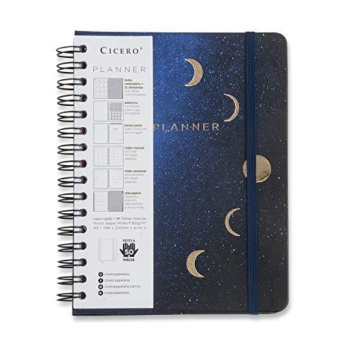 Planner Wire-o Astral Lua, Cicero, 3526, Azul, Mensal e Semanal, 75 Folhas, Papel Pólen 80g/m², Tamanho A5 (Grande)