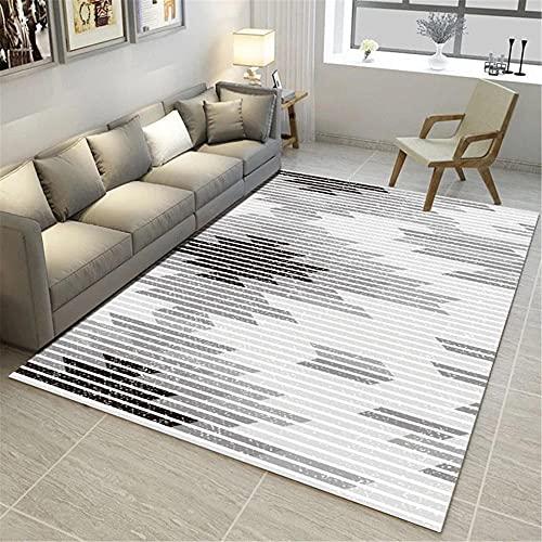IRCATH Grigio e Bianco Abstract Line Pattern Protection Protection Piano Bedroom Bedroom Lounge Studio Tavolino da caffè Tavolo da caffè Casual Tappeto-40x60 cm. Morbido Tappeto Antiscivolo Tappeto p