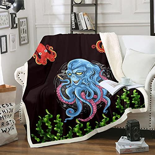 Loussiesd Octopus Sherpa Manta de forro polar Ocean Kraken para cama, sofá, niños, tentáculos de pulpo, manta de felpa, suave de dibujos animados, animales marinos, manta difusa doble de 156 x 172 cm