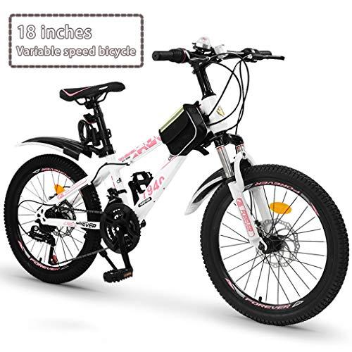 Bici pieghevoli Velocità variabile bicicletta ragazza del ragazzo for bambini all'aperto in bicicletta Adatto a bambini di età compresa tra 7-15 Mountain Bike ( Color : White a , Size : 18 inches )