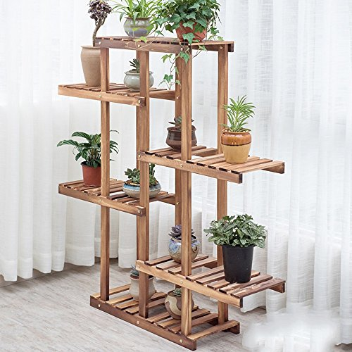 Plante Théâtre massivholzboden mehrgesch ossige Fleur Support balcon Salon intérieur bois pied (61 * 25 * 125 cm) Idée Cadeau Jardiniers