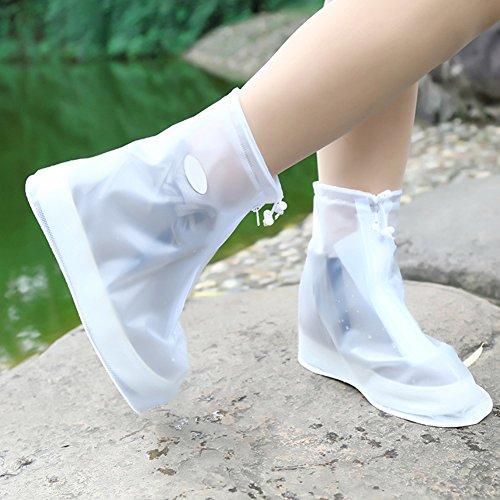 zantec resistente al agua guantes protectora reutilizable de LinTimes Lluvia Botas de nieve resistente al desgaste antideslizante zapatos Cover para hombre y mujer, Weiß, large