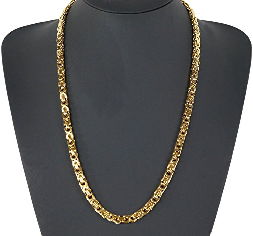 Kaiser-Handel, collana a maglia bizantina, in acciaio inox, stile punk rock, hip hop, radio Rocker Biker, 60 cm x 6 mm x 3 mm, kk49 (oro)