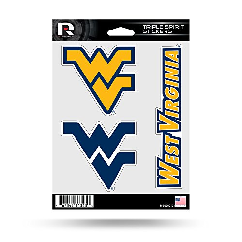 NCAA Rico Industries  Die Cut 3-Piece Triple Spirit Sticker Sheet, West Virginia Mountaineers