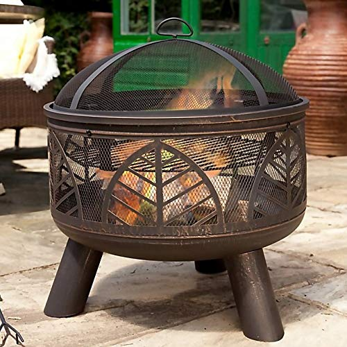 Large Steel La Hacienda Alexis Log Burner/Fire Pit with BBQ Grill Set, Spark Guard Lid & Hand Tool (Tall Garden Patio Heater, Chimenea BBQ Chiminea)