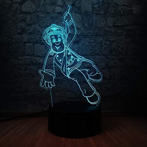 shiyueNB Bande Dessinée 3D Acrylique Figure Pompier Sam LED Veilleuse 7 Couleur Changeante Enfant Chambre Lampe De Sommeil Enfants Vacances Cadeau d'anniversaire Jouet