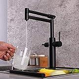 Grifo de cocina, doble mango, filtro de agua potable, punto, purificador de latón, fregadero de recipiente, caño plegable giratorio de 360 grados