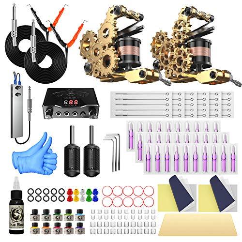 Wormhole Tattoo Kit for Beginners Complete Tattoo Machine Kit with 2 Coil Tattoo Guns Tattoo Power Supply Foot Pedal Tattoo Inks Tattoo Needles Tattoo Grips Tubes and tattoo Accessories TK104