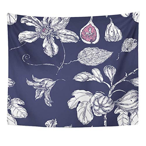 N/A Tapestry Tree Pink Tropical With Garden Dates And Flowers On Indigo In White Quince Tapestry Home Decor Wall Hanging For Livingbohemian Hippie Mandala Picnic Tablecloth Gift 52X60 Inches