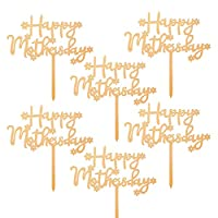 Hakka 10個ハッピー母の日ケーキトッパーアクリルグリッターママケーキ挿入カードママのための誕生日パーティー用品装飾
