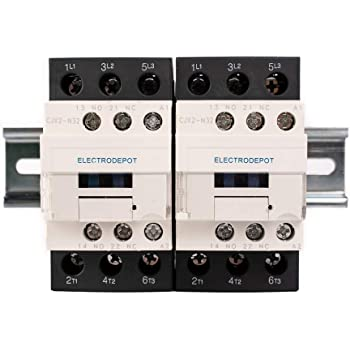 110//120V Coil 35mm x 6 Electrodepot 30 Amp 3 Pole Contactor 1 Piece with 2#10 Screws 50A Bundle with Slotted Steel Zinc Plated DIN Rail Motor Load 32A 1 Piece with 2#10 Screws 35mm x 6 Lighting 40A