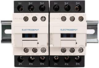 Electrodepot 30 Amp 6 Pole (3 Pole x 2) Normally Open   Auxiliary 1NO/1NC   110/120VAC Coil   Motor Load 32A, Lighting Load 50A   Contactors Bundle with DIN Rail, 35 x 150 mm and 2#10 Screws