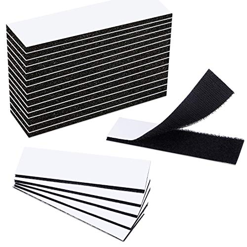 WXBOOM 32pcs Heavy Duty Hook and Loop Tape Strips with Adhesive Sticky Back, Double-Sided Industrial Strength Fasten Interlocking for Home Office