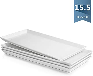 Sweese 703.101 White Serving Platters, Porcelain Serving Trays for Parties, Rectangular Plates - 15.5 Inch, Set of 4