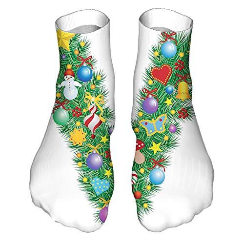 Men's and Women's Funny Casual Socks Ornament Christmas Tree Design Capitalized V Festive Element