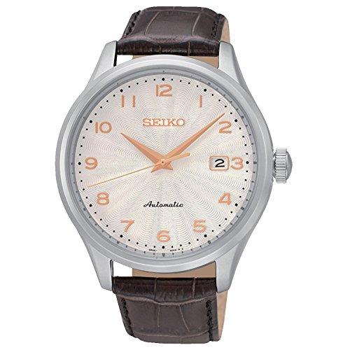SEIKO Herren-Armbanduhr 42MM Armband Leder BRAUN AUTOMATIK ANALOG SRP705K1