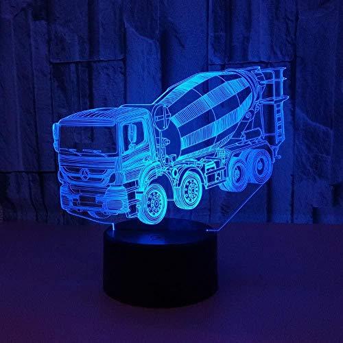Lámpara de ilusión óptica 3D Carro de mezcla Juguete de luz nocturna LED Lámpara de mesa USB de 16 colores que cambia con control remoto o táctil El mejor regalo de cumpleaños de Navidad para