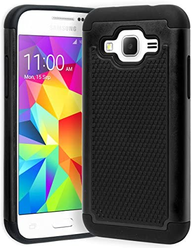 Samsung Galaxy Core Prime Phone Case Bastex Hybrid Rugged Black Silicone Cover Hard Black Shock product image