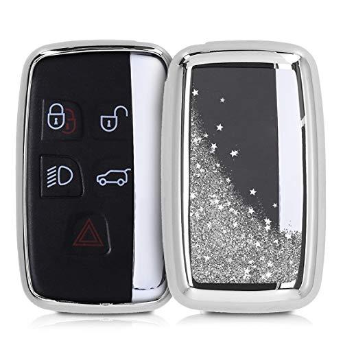 kwmobile Accessoire Clé de Voiture Compatible avec Land Rover Jaguar 5-Bouton - Coque de Protection en Silicone - étoiles et Paillettes argenté-métallique argenté