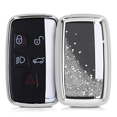 kwmobile Autoschlüssel Hülle kompatibel mit Land Rover Jaguar 5-Tasten Funk Autoschlüssel - TPU Schutzhülle Schlüsselhülle Cover Schneekugel Sterne Silber Metallic Silber