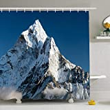Ahawoso Shower Curtain Set with Hooks 72x78 Beautiful View Mount AMA Dablam Red Khumbu Way Nature Top Parks North Ridge Outdoor Valley Everest Waterproof Polyester Fabric Bath Decor for Bathroom