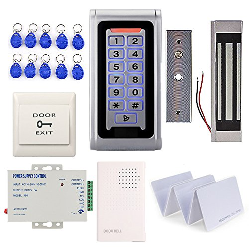 Waterproof Metal RFID Keypad Door Entry Systems & 350lbs Electric Magnetic Lock+110V Power Supply+Push to Exit Button+RFID Keychains/Cards