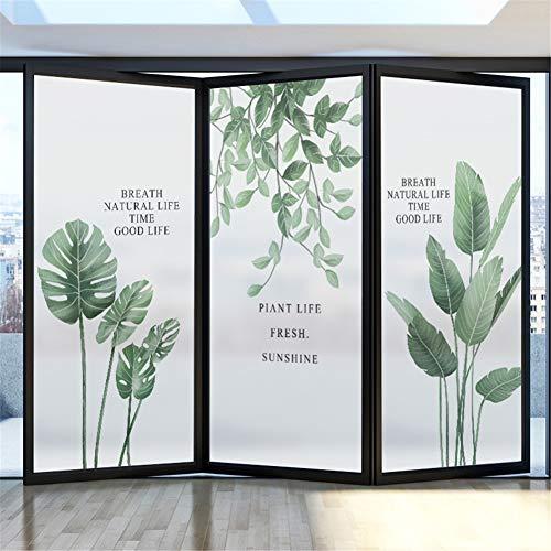 30x60CM 窓用フィルム 目隠しフィルム めかくしシート 窓ガラスフィルム 自然風 植物 緑葉 遮光断熱シート おしゃれ 装飾フィルム 無接着剤 水で貼れる 静電吸着 再利用可能 カスタマイズ可能