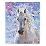 kuou, kit completo per diamond painting 5D fai da te, motivo cavalli bianchi, kit per pittura a punto croce, per decorazioni per la casa (30 x 40 cm)