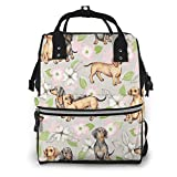 Bolsa de pañales para perros salchichas y flores multifunción, mochila impermeable para viajes