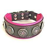 Bestia ''Bijou'' Collar de Perro de Cuero Genuino (S- se Adapta a un Cuello de 35-42,5 cm, Negro & Rosado)
