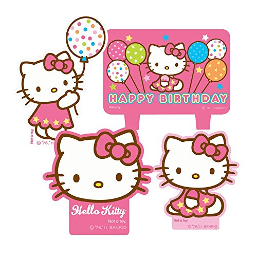 Hello Kitty Molded Candles for Birthday Cake (Set of 4)