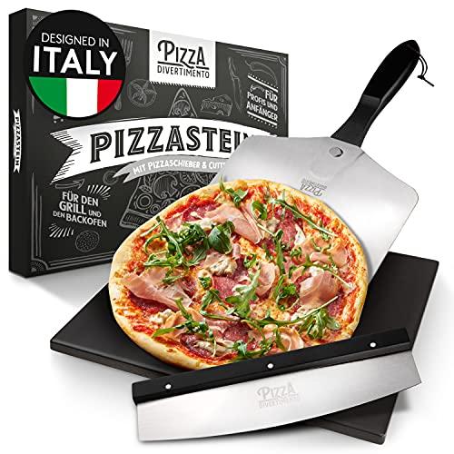 Pizza Divertimento - Pierre à Pizza pour Four et Gril à gaz - avec Curseur et Coupe-Pizza - Pierre à Pizza en cordiérite - Base croustillante de la Pierre à Pizza