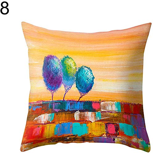 Tedtte Dekokissenbezug Multi Color Tree Printed 8, Kissenbezug aus Polyester 45 x 45 cm