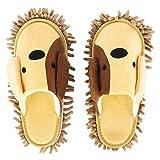 Whchiy Pantuflas de microfibra con dibujos animados para perros, pantuflas de felpilla, limpieza del suelo y herramientas de eliminación de polvo, unisex, limpieza de zapatos (perro beige)