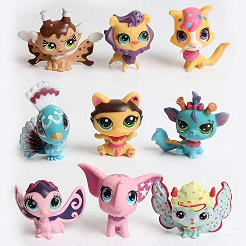 FINIMY Lps Littlest Pet Shop Toys Random 10pcs / Bag Lps Toy Little Pet Shop Toy Animal CatDog Figuras de acción Juguetes para niños para niños Navidad