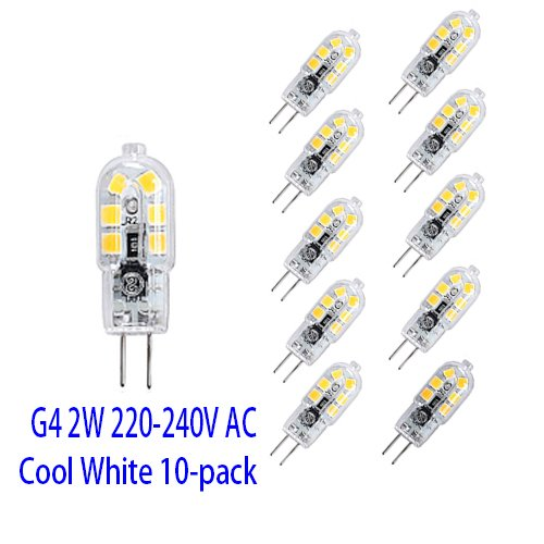 OUGEER 10 Stück Energiesparende G4 2W LED Birne, 12 SMD 2835, Kaltweiss 6000K, 200lm, AC 220-240 V LED-Lampen Ersatz 20W Halogenlampe